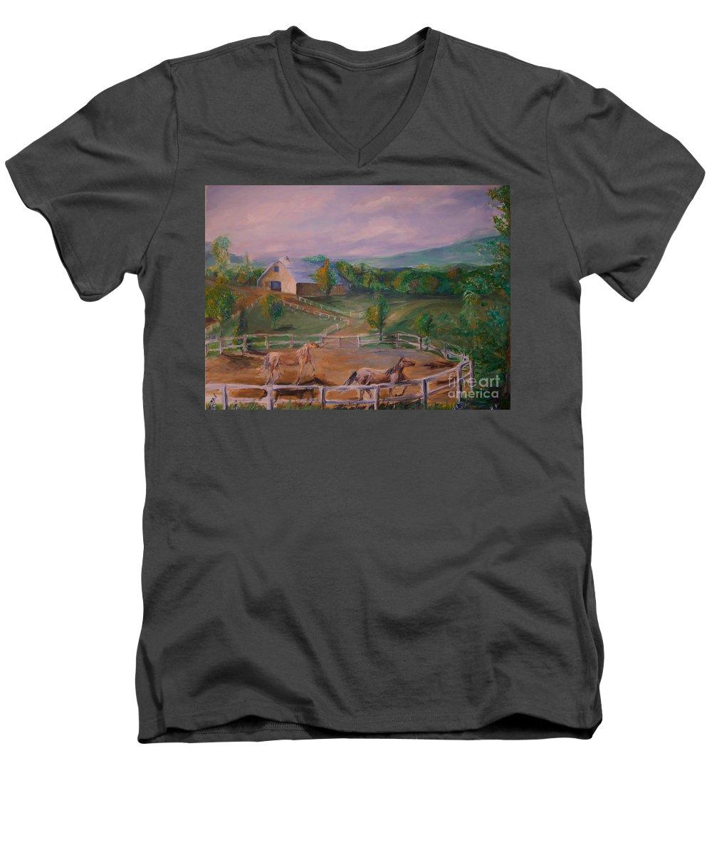 Pennsylvania Men's V-Neck T-Shirt featuring the painting Gettysburg Farm by Eric Schiabor