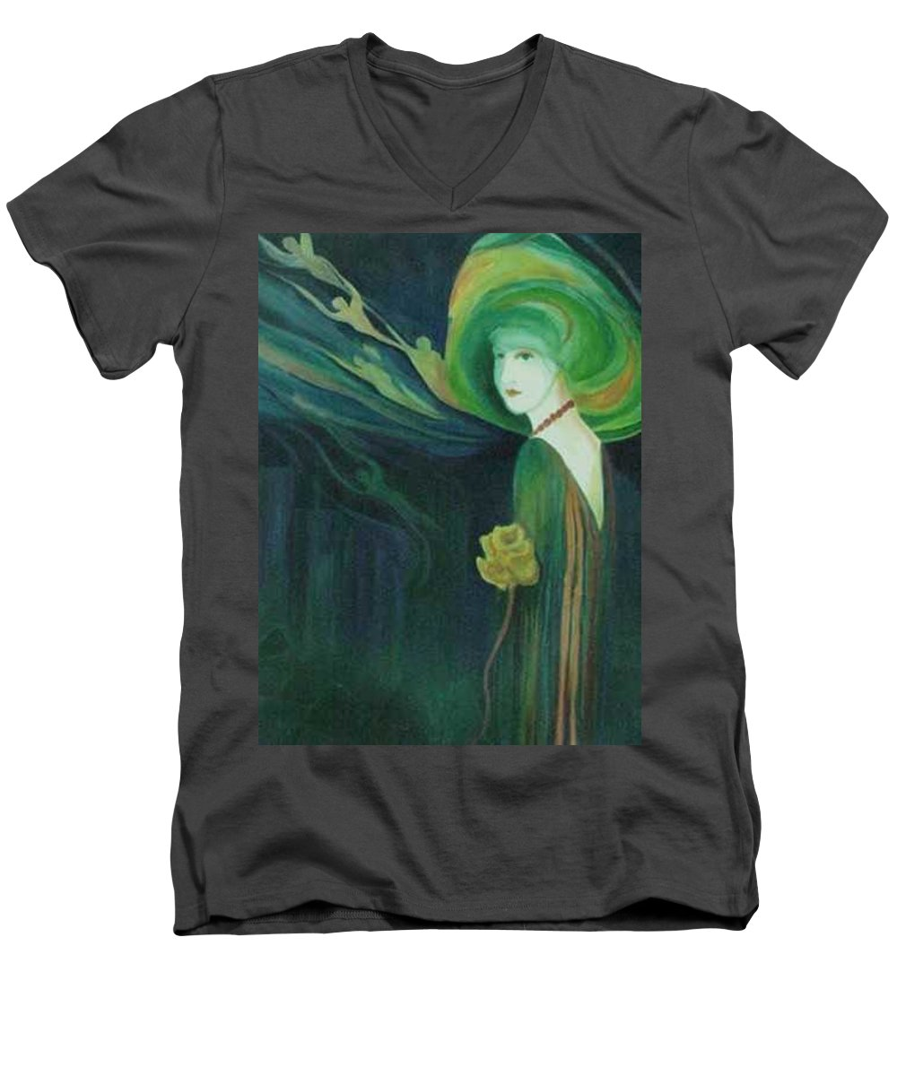 Women Men's V-Neck T-Shirt featuring the painting My Haunted Past by Carolyn LeGrand