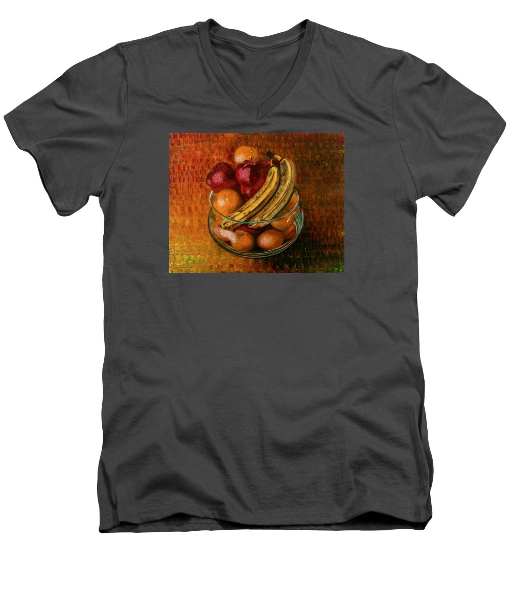 Still Life Men's V-Neck T-Shirt featuring the painting Glass Bowl Of Fruit by Sean Connolly