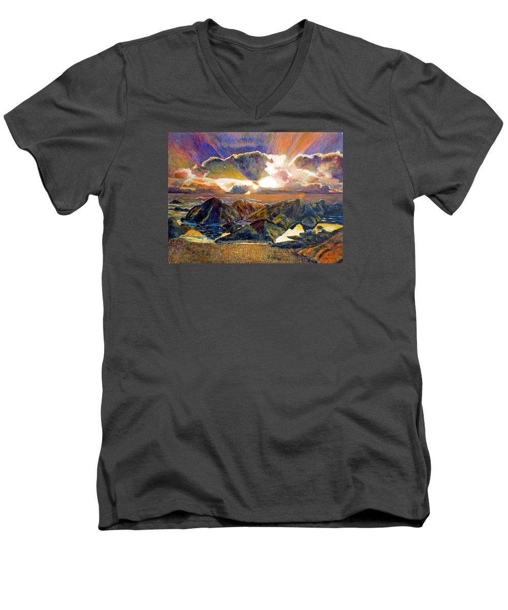 Seascape Men's V-Neck T-Shirt featuring the painting God Speaking by Michael Durst