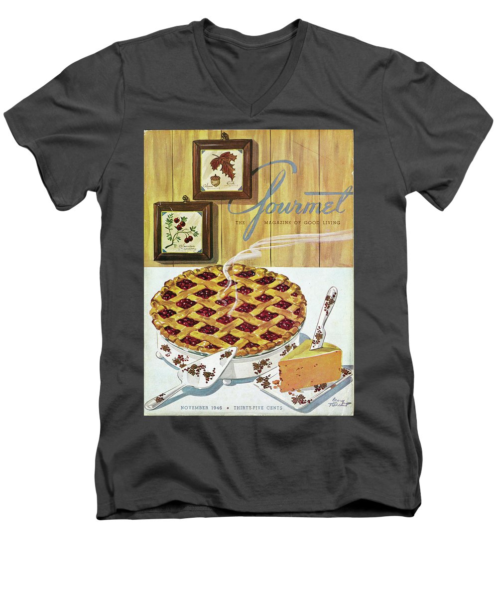 Food Men's V-Neck T-Shirt featuring the photograph Gourmet Cover Of Cranberry Pie by Henry Stahlhut