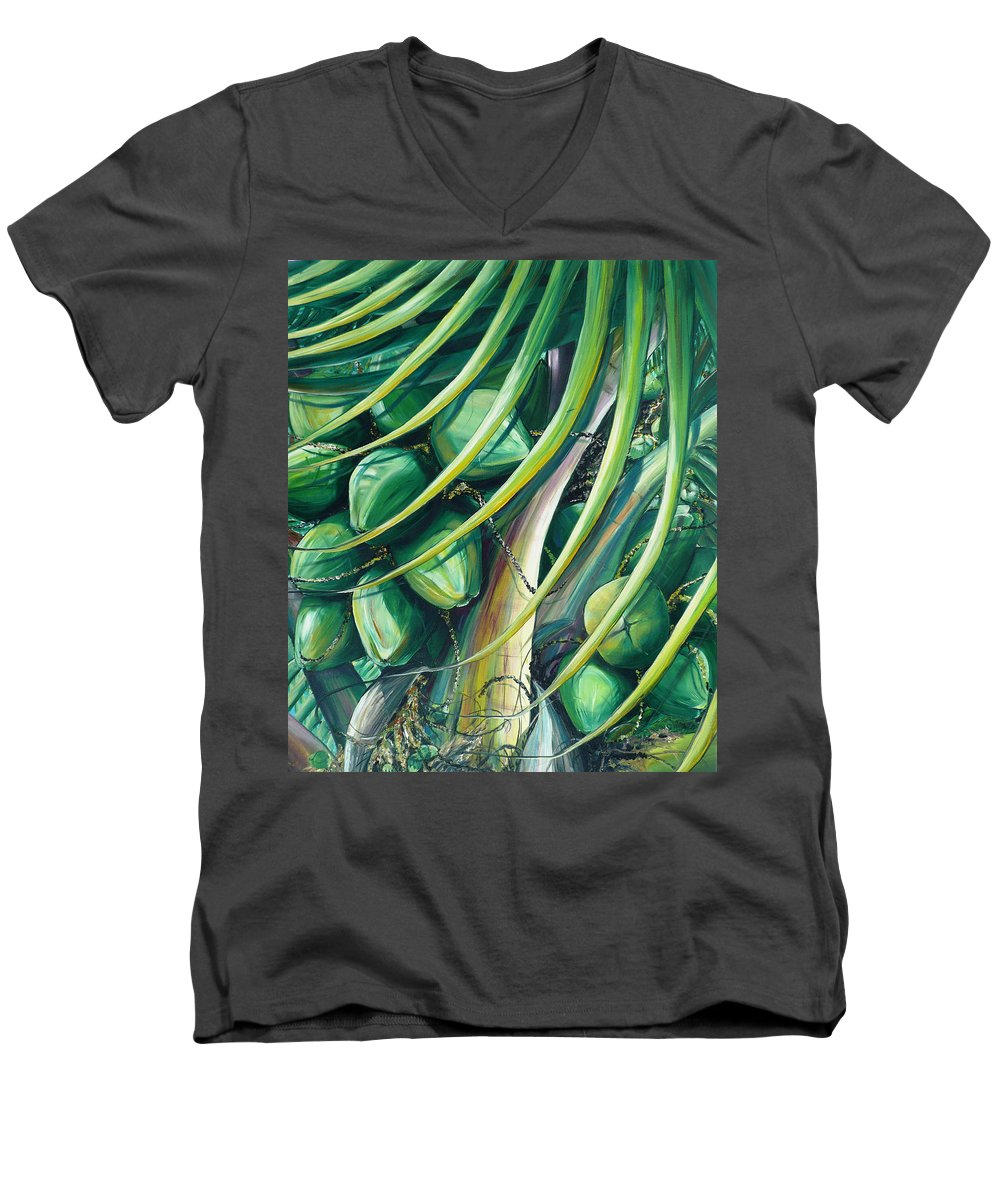 Coconut Painting Caribbean Painting Coconuts Caribbean Tropical Painting Palm Tree Painting  Green Botanical Painting Green Painting Men's V-Neck T-Shirt featuring the painting Green Coconuts 2 by Karin Dawn Kelshall- Best