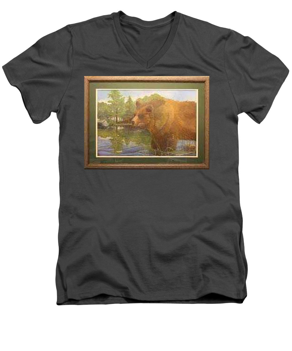 Rick Huotari Men's V-Neck T-Shirt featuring the painting Grizzly by Rick Huotari