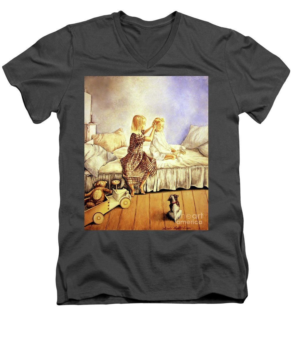 Animals Men's V-Neck T-Shirt featuring the painting Hands Of Devotion - Childhood by Linda Simon