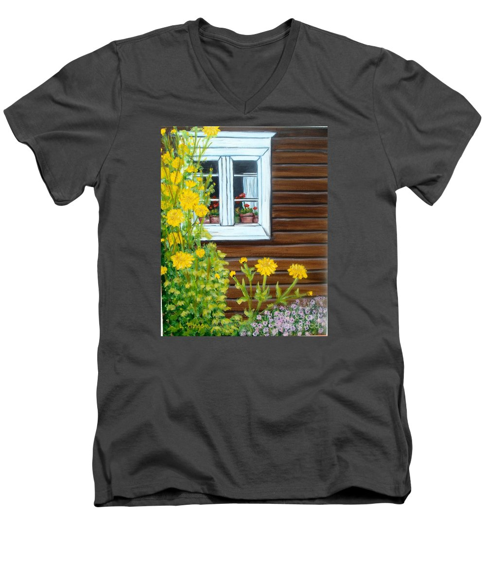 Window Men's V-Neck T-Shirt featuring the painting Happy Homestead by Laurie Morgan