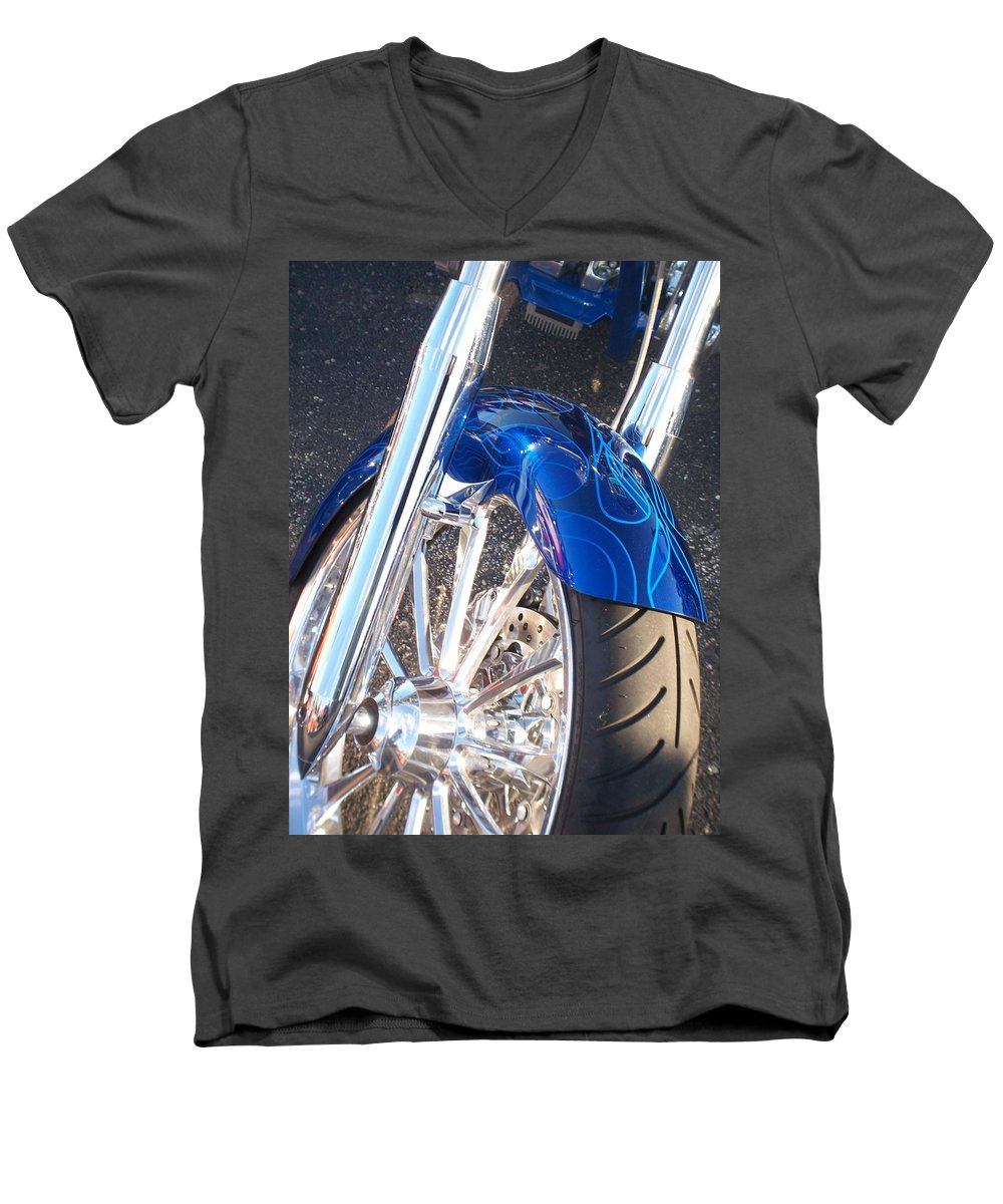 Motorcycles Men's V-Neck T-Shirt featuring the photograph Harley Close-up Blue Flame by Anita Burgermeister