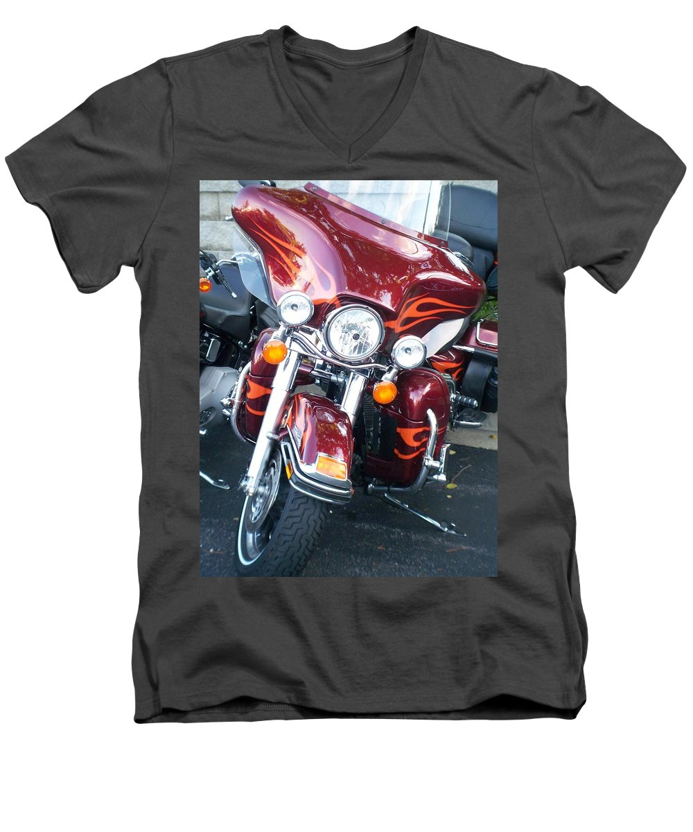 Motorcycles Men's V-Neck T-Shirt featuring the photograph Harley Red W Orange Flames by Anita Burgermeister