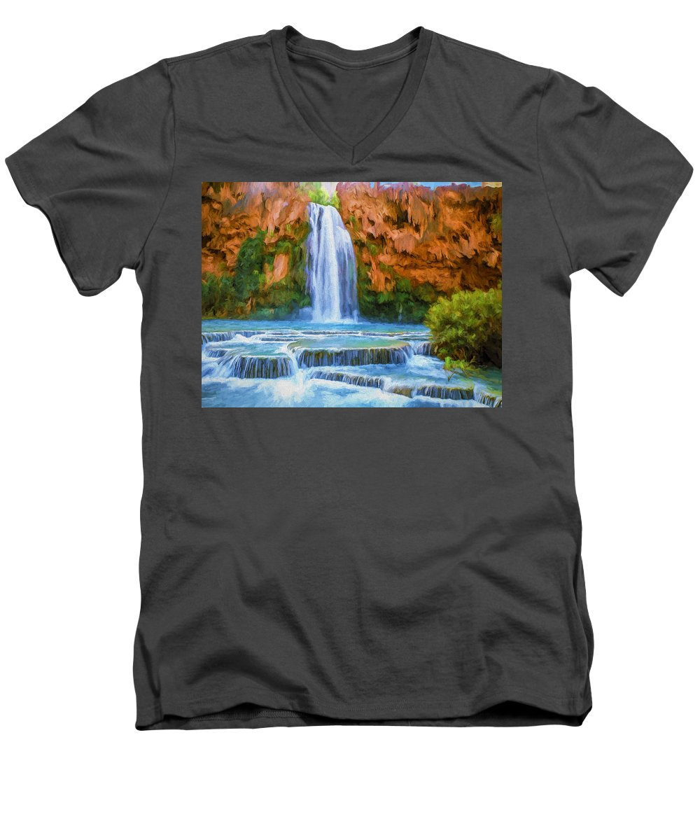 Fine Art Men's V-Neck T-Shirt featuring the painting Havasu Falls by David Wagner