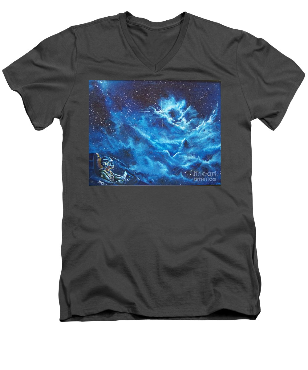 Astro Men's V-Neck T-Shirt featuring the painting Heavens Gate by Murphy Elliott