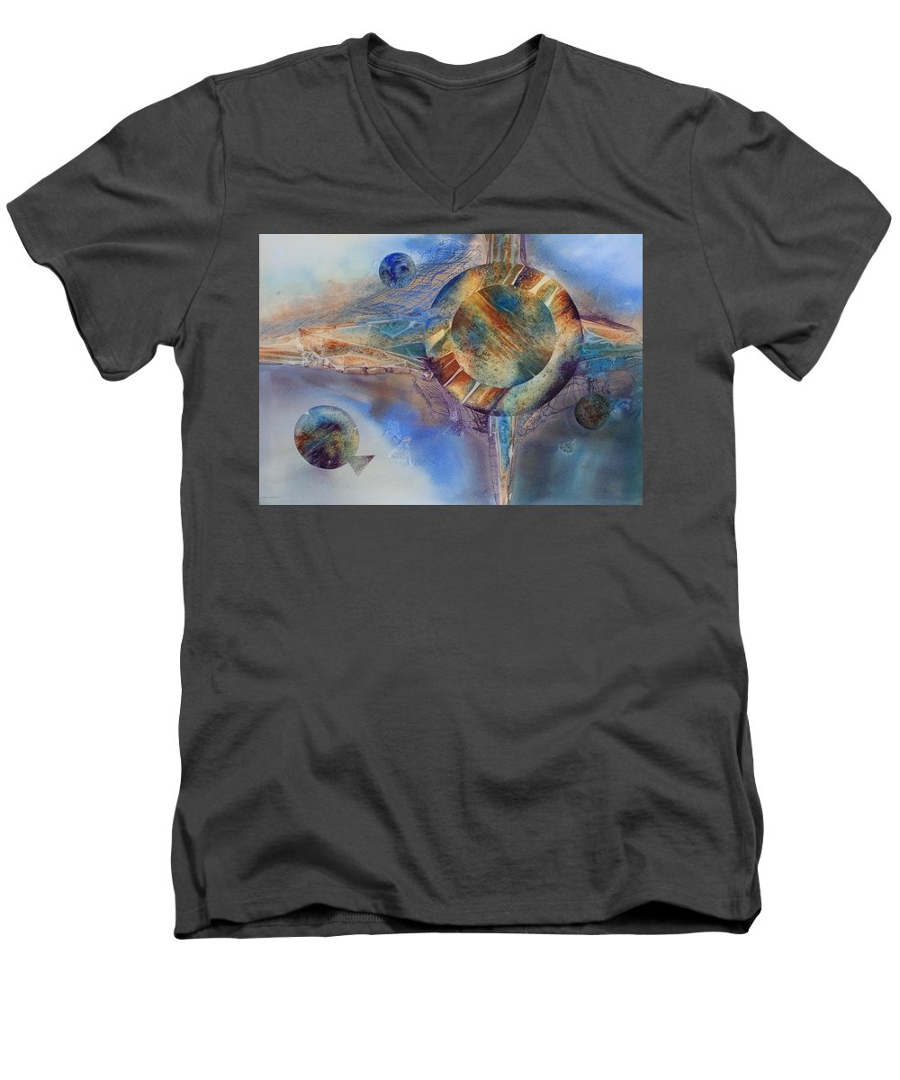 Spiritual Men's V-Neck T-Shirt featuring the painting Heavens Gate by Tara Moorman