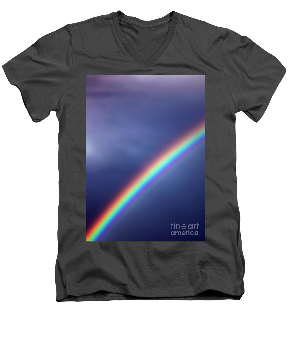 Rainbow Men's V-Neck T-Shirt featuring the photograph Hold On For Hope by Amanda Barcon