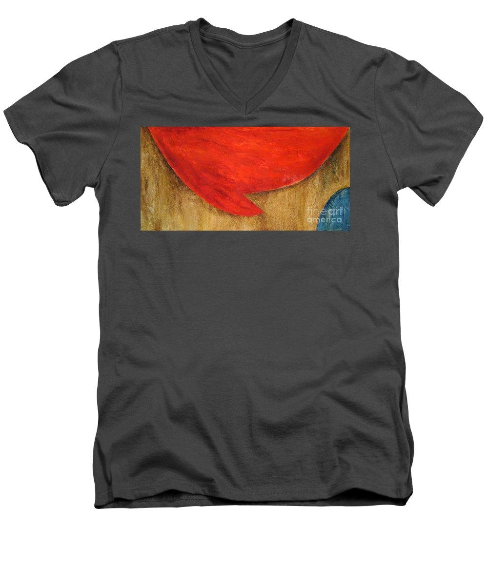 Modern Art Men's V-Neck T-Shirt featuring the painting Hot Spot by Silvana Abel