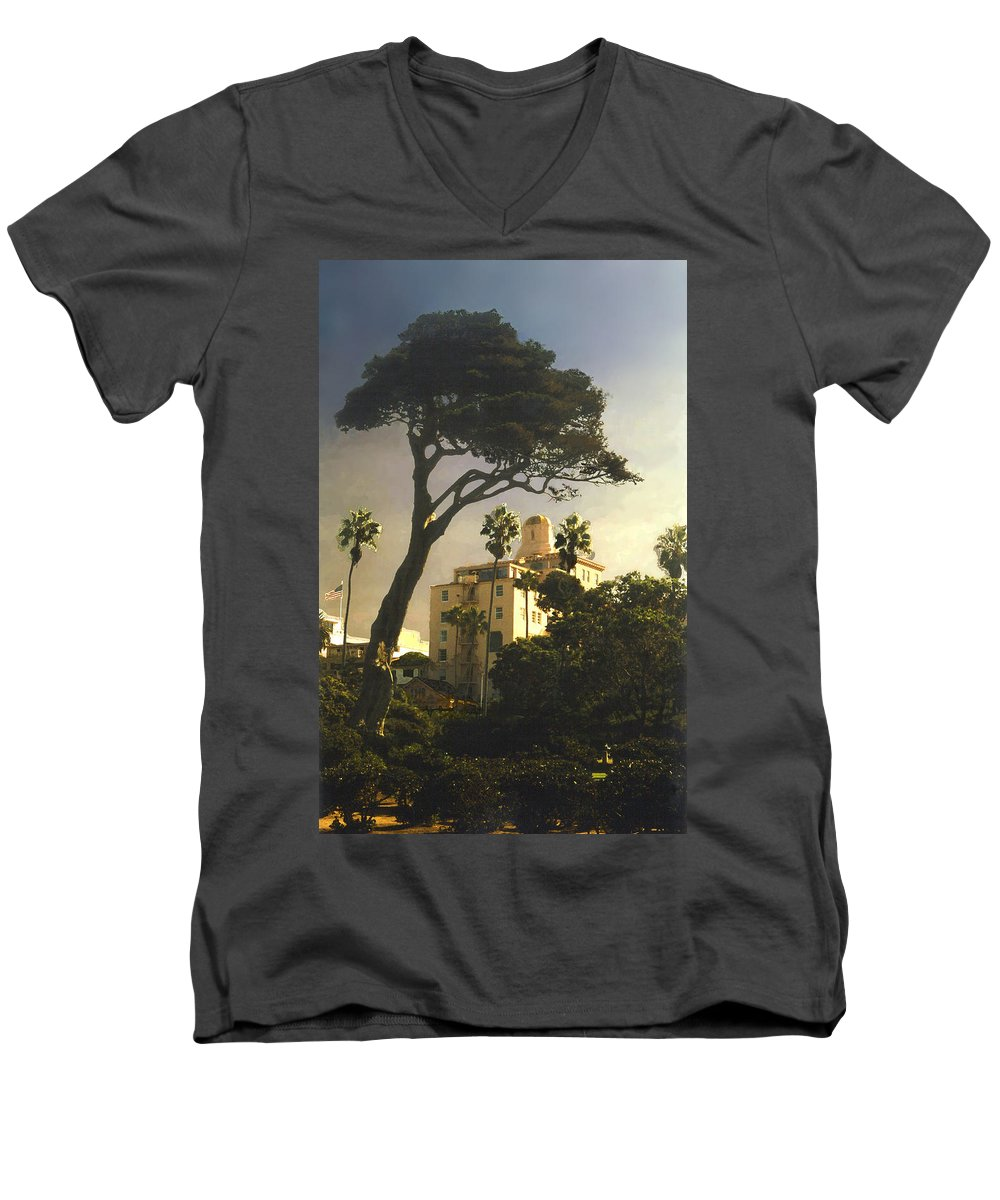 Landscape Men's V-Neck T-Shirt featuring the photograph Hotel California- La Jolla by Steve Karol
