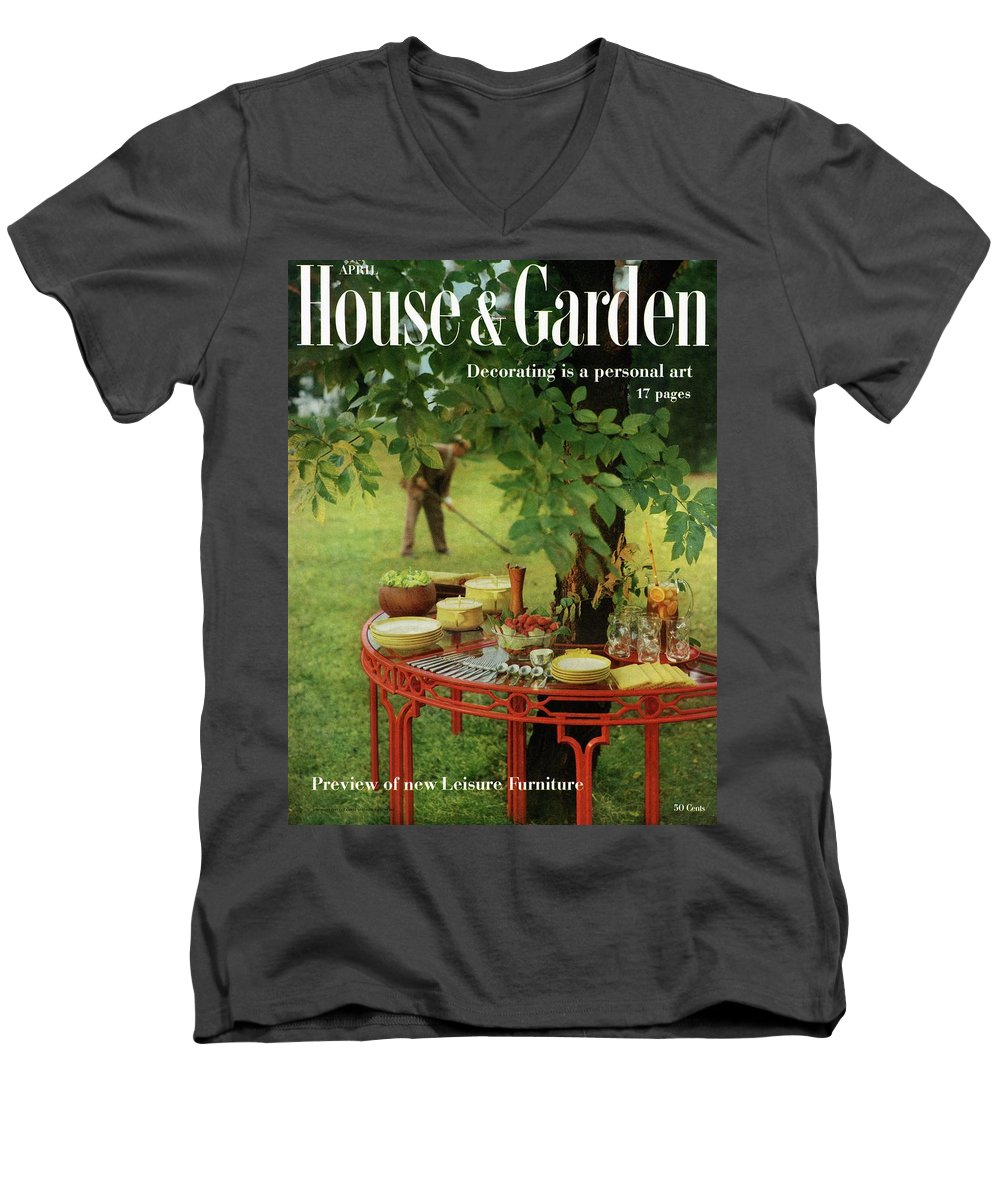 Landscape Men's V-Neck T-Shirt featuring the photograph House And Garden Cover by Horst P. Horst