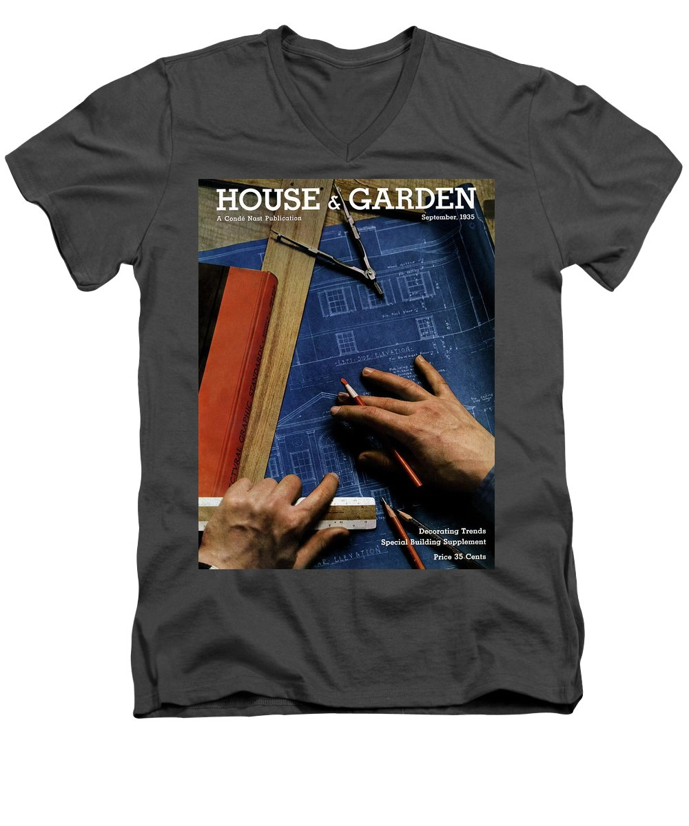 House And Garden Men's V-Neck T-Shirt featuring the photograph House And Garden Cover Of A Person by Anton Bruehl