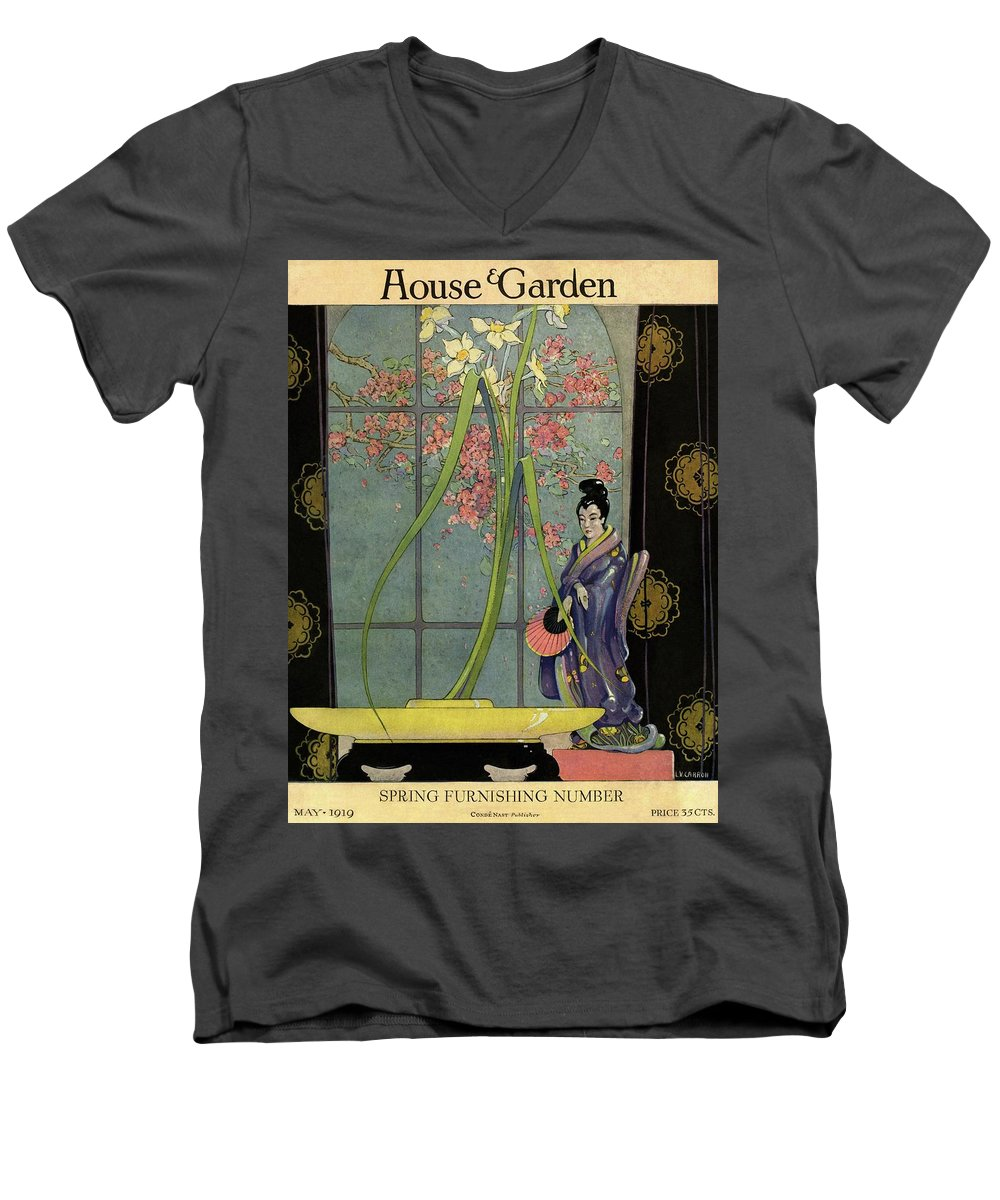 House And Garden Men's V-Neck T-Shirt featuring the photograph House And Garden Spring Furnishing Number Cover by L. V. Carroll