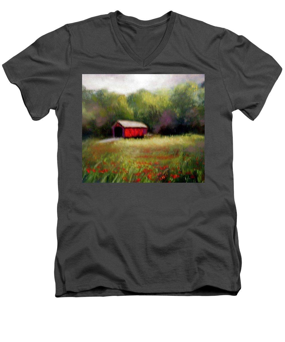 Covered Bridge Men's V-Neck T-Shirt featuring the painting Hune Bridge by Gail Kirtz