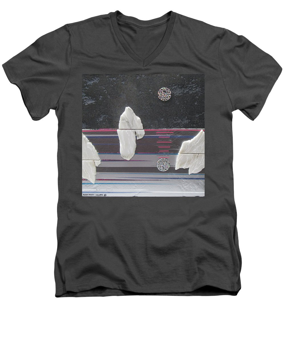 Assemblage Men's V-Neck T-Shirt featuring the mixed media Ice Bergs by Elaine Booth-Kallweit