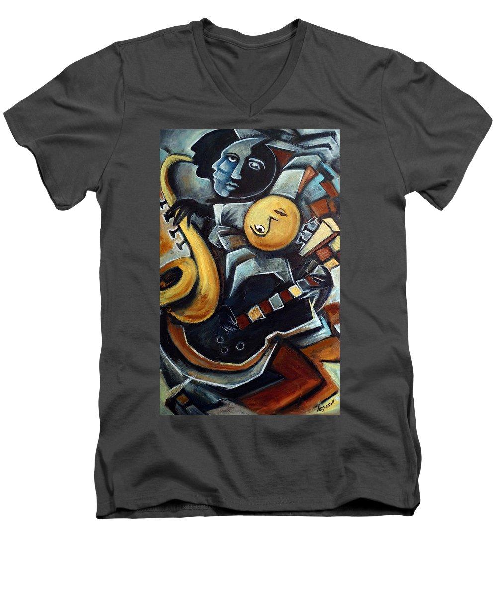Cubism Men's V-Neck T-Shirt featuring the painting Indigo Blues by Valerie Vescovi