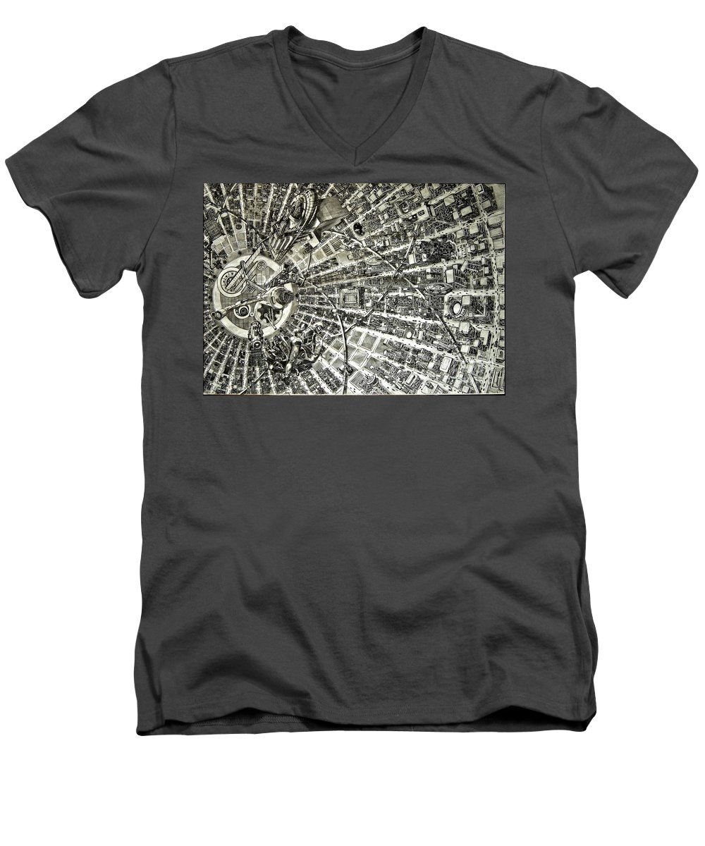 Cityscape Men's V-Neck T-Shirt featuring the drawing Inside Orbital City by Murphy Elliott