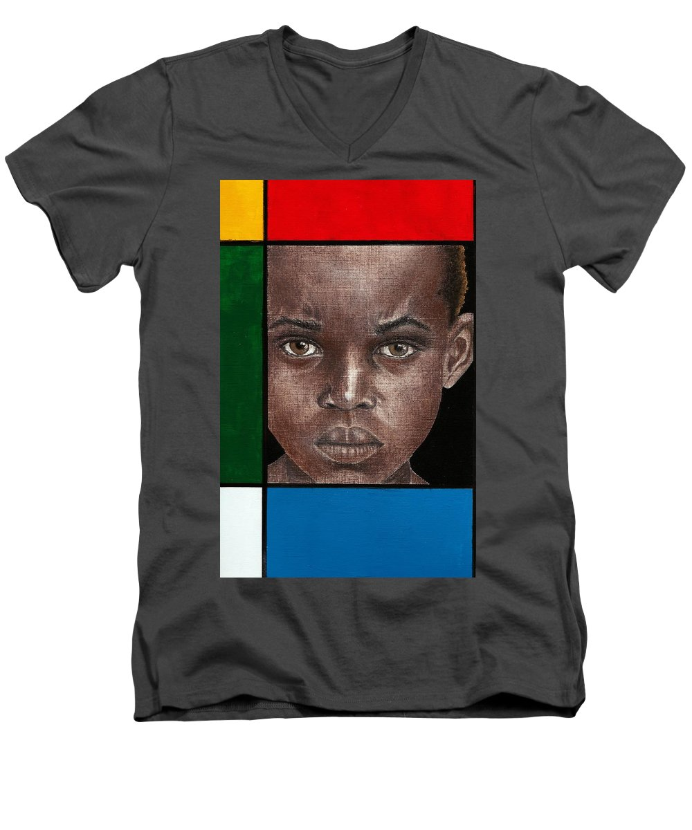 African American Artwork Men's V-Neck T-Shirt featuring the mixed media Intense by Edith Peterson-Watson