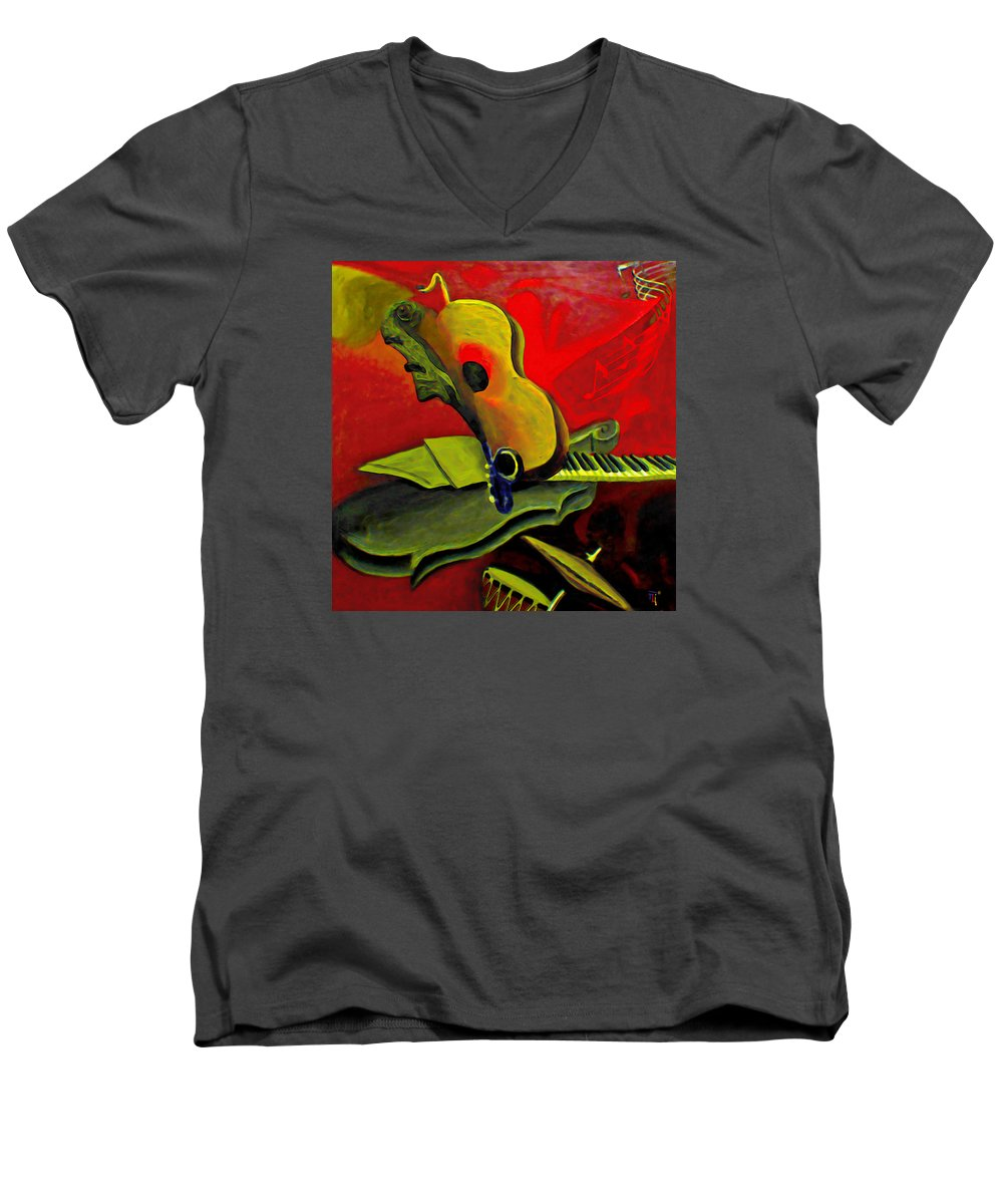 Abstract Men's V-Neck T-Shirt featuring the painting Jazz Infusion by Fli Art