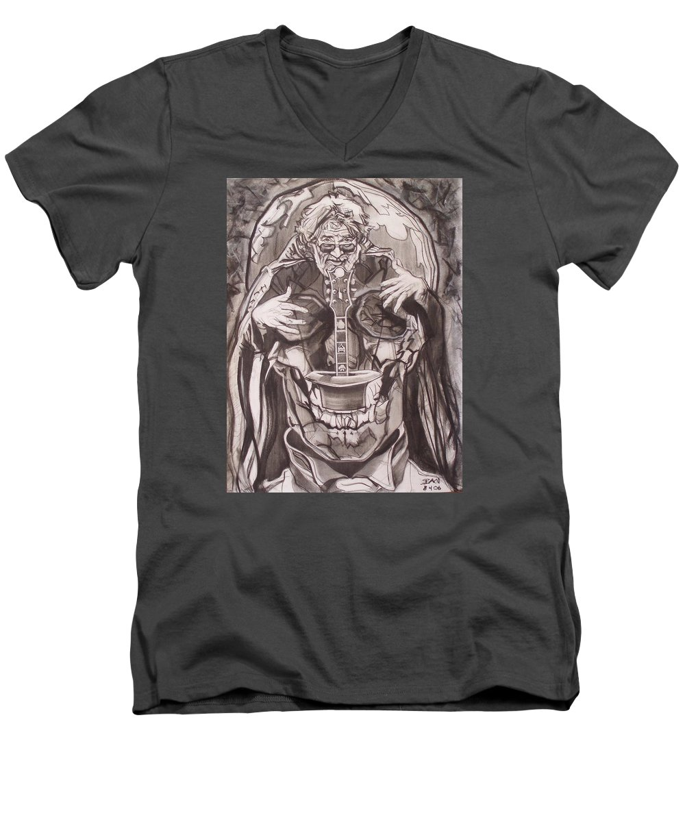 Charcoal; Skull;guitar;music;magic;mystic;wizard;cape;hat;shades;grateful Dead;deadheads Men's V-Neck T-Shirt featuring the drawing Jerry Garcia . . Magic Is What We Do - Music Is How We Do It by Sean Connolly