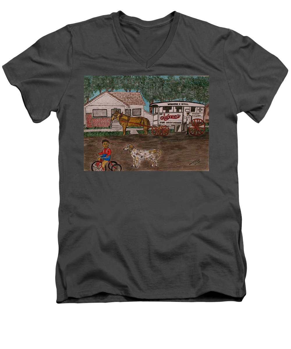 Johnson Creamery Men's V-Neck T-Shirt featuring the painting Johnsons Milk Wagon Pulled By A Horse by Kathy Marrs Chandler