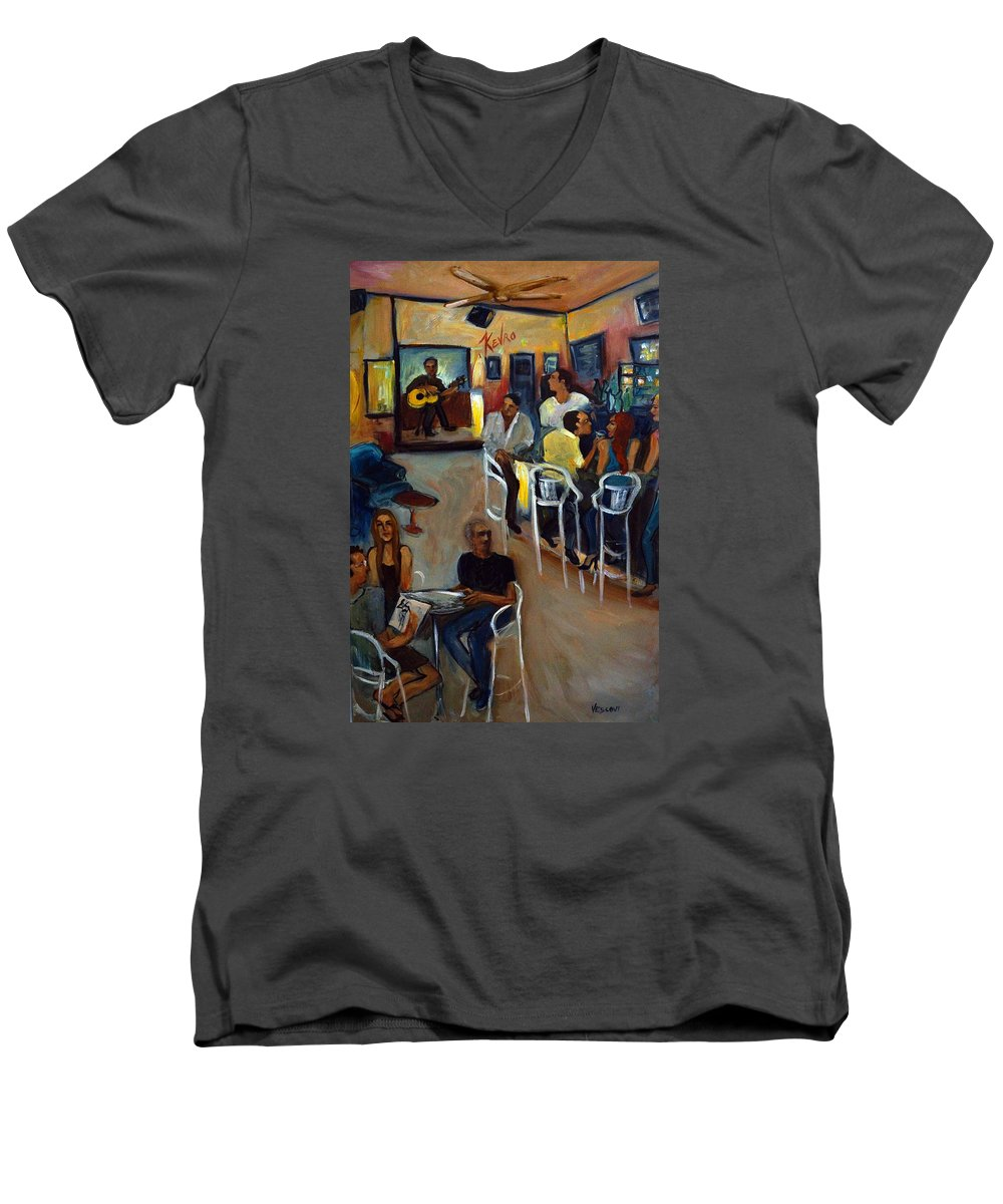 Art Bar Men's V-Neck T-Shirt featuring the painting Kevro's Art Bar by Valerie Vescovi