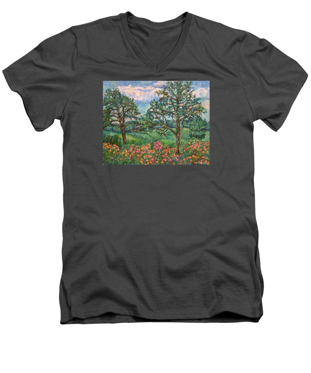 Landscape Men's V-Neck T-Shirt featuring the painting Kraft Avenue In Blacksburg by Kendall Kessler