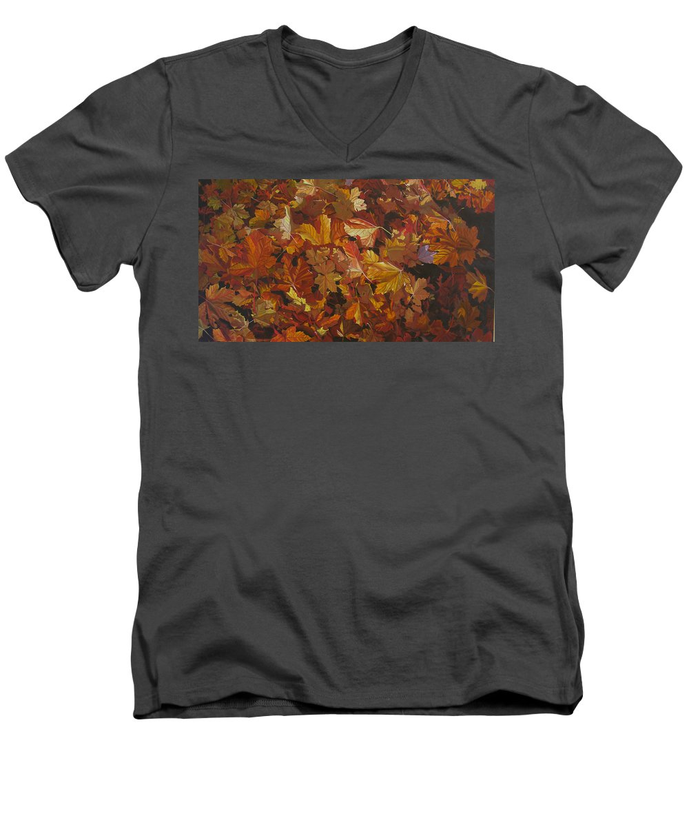Fall Men's V-Neck T-Shirt featuring the painting Last Fall In Monroe by Thu Nguyen