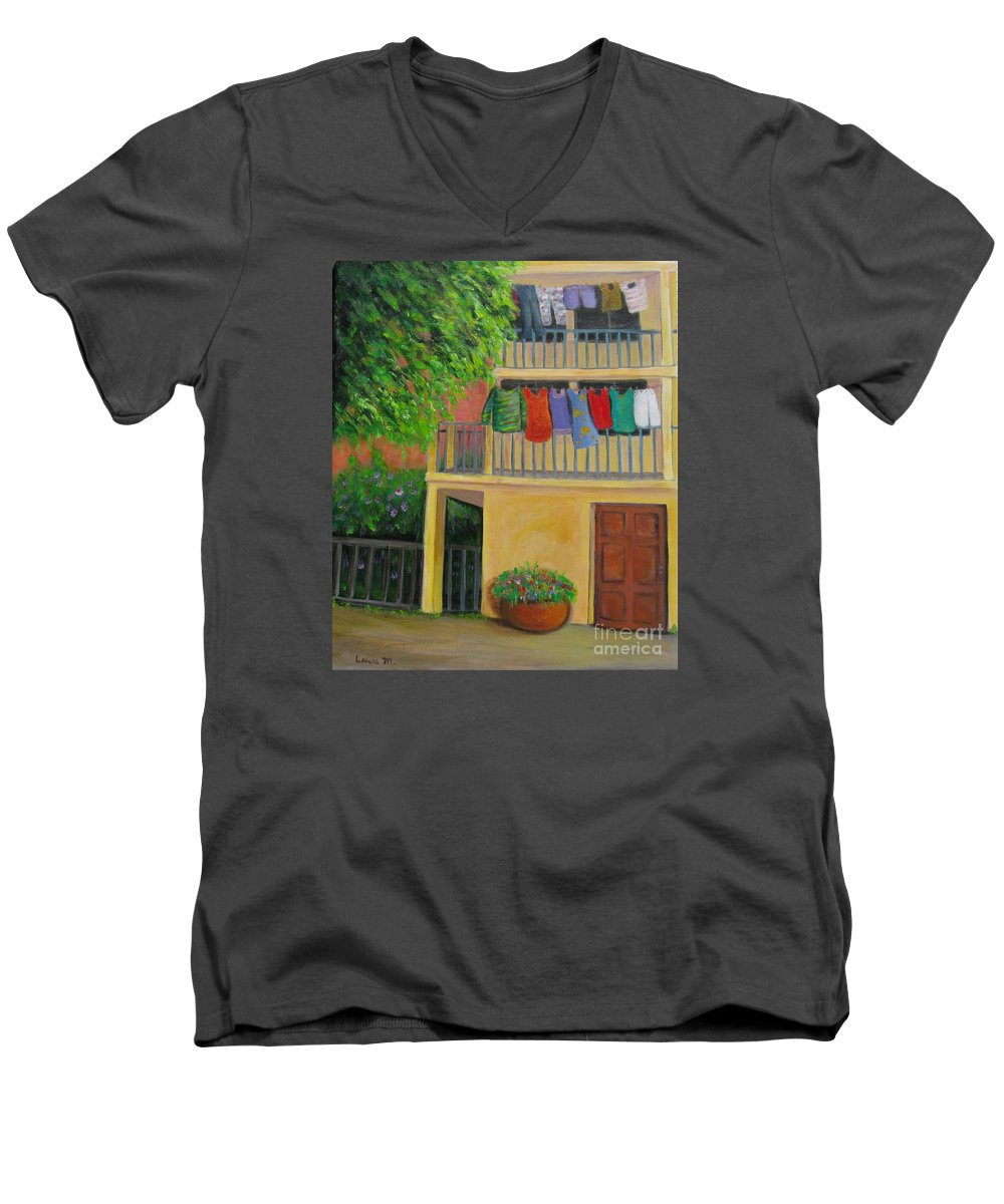 Laundry Men's V-Neck T-Shirt featuring the painting Laundry Day by Laurie Morgan
