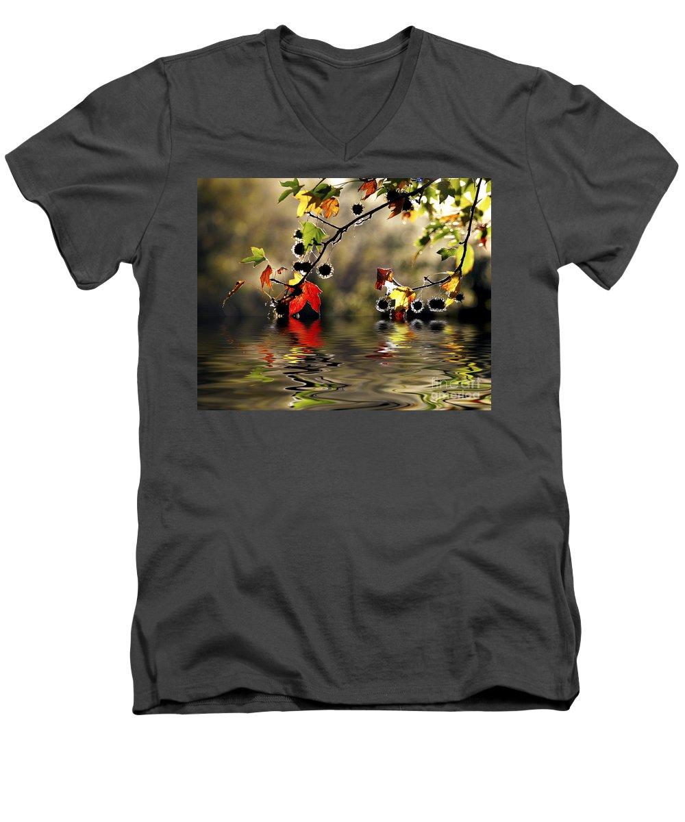 Liquidambar Maple Autumn Fall Flood Water Reflection Men's V-Neck T-Shirt featuring the photograph Liquidambar In Flood by Avalon Fine Art Photography