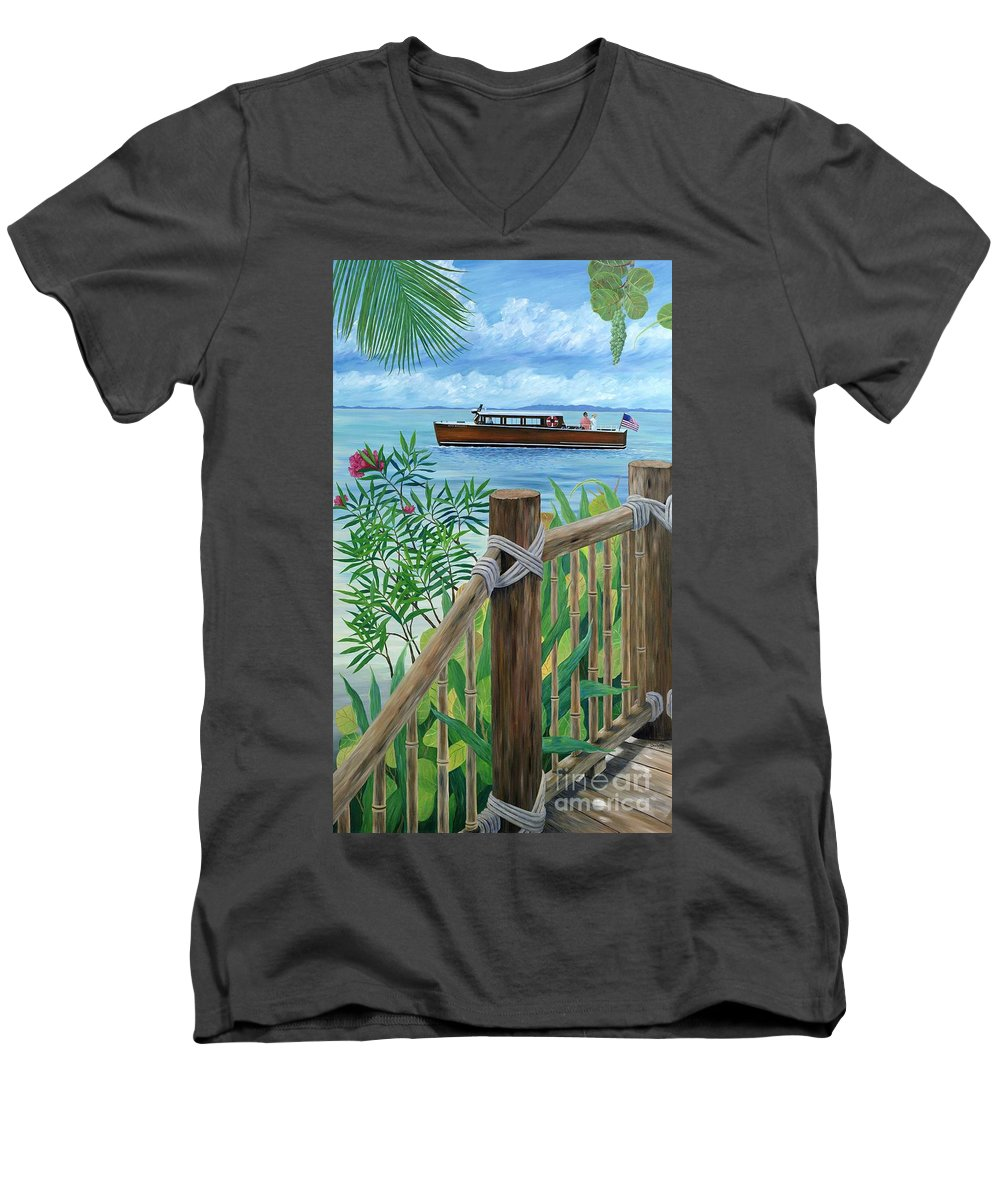 Island Men's V-Neck T-Shirt featuring the painting Little Palm Island by Danielle Perry