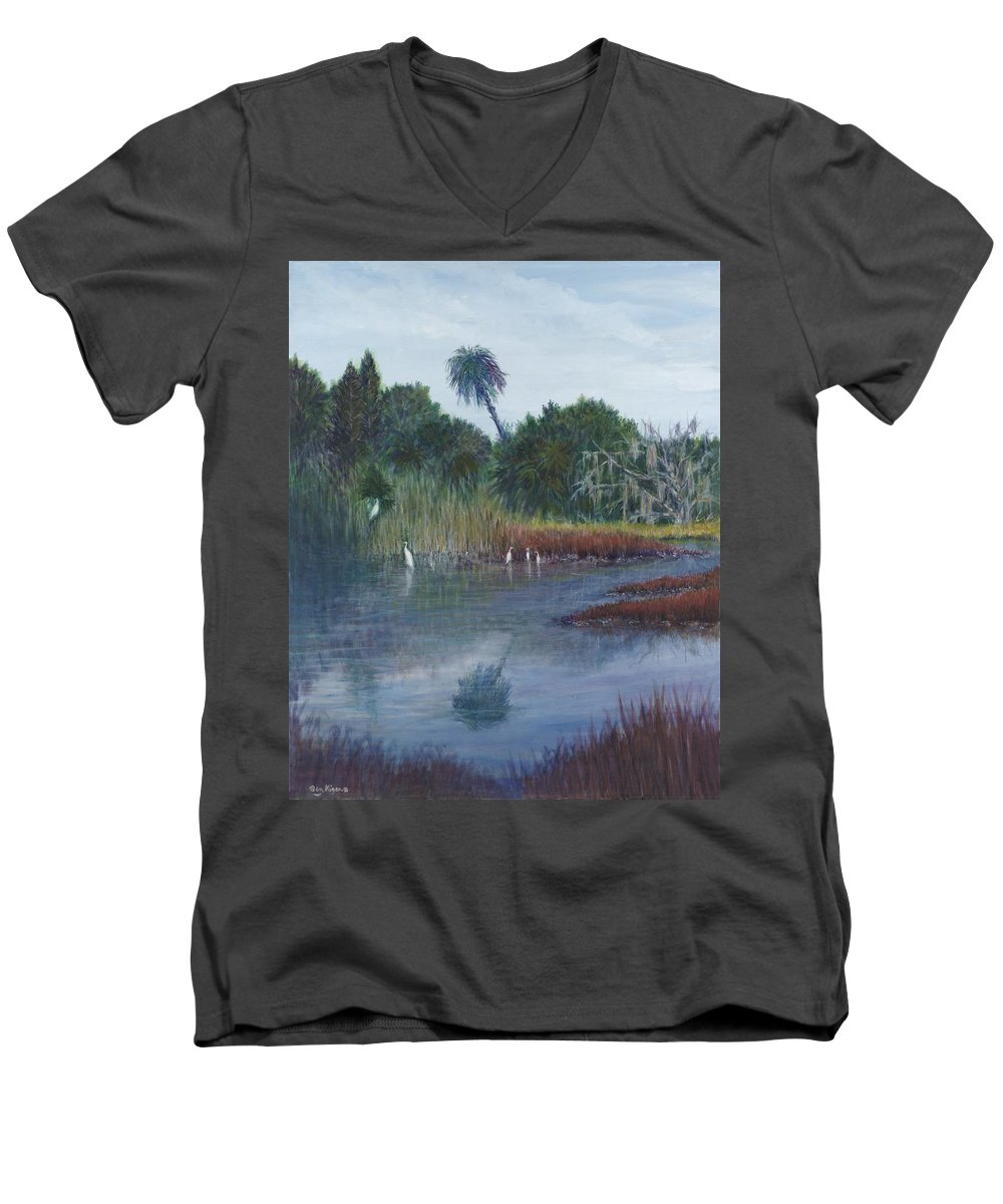 Landscape Men's V-Neck T-Shirt featuring the painting Low Country Social by Ben Kiger