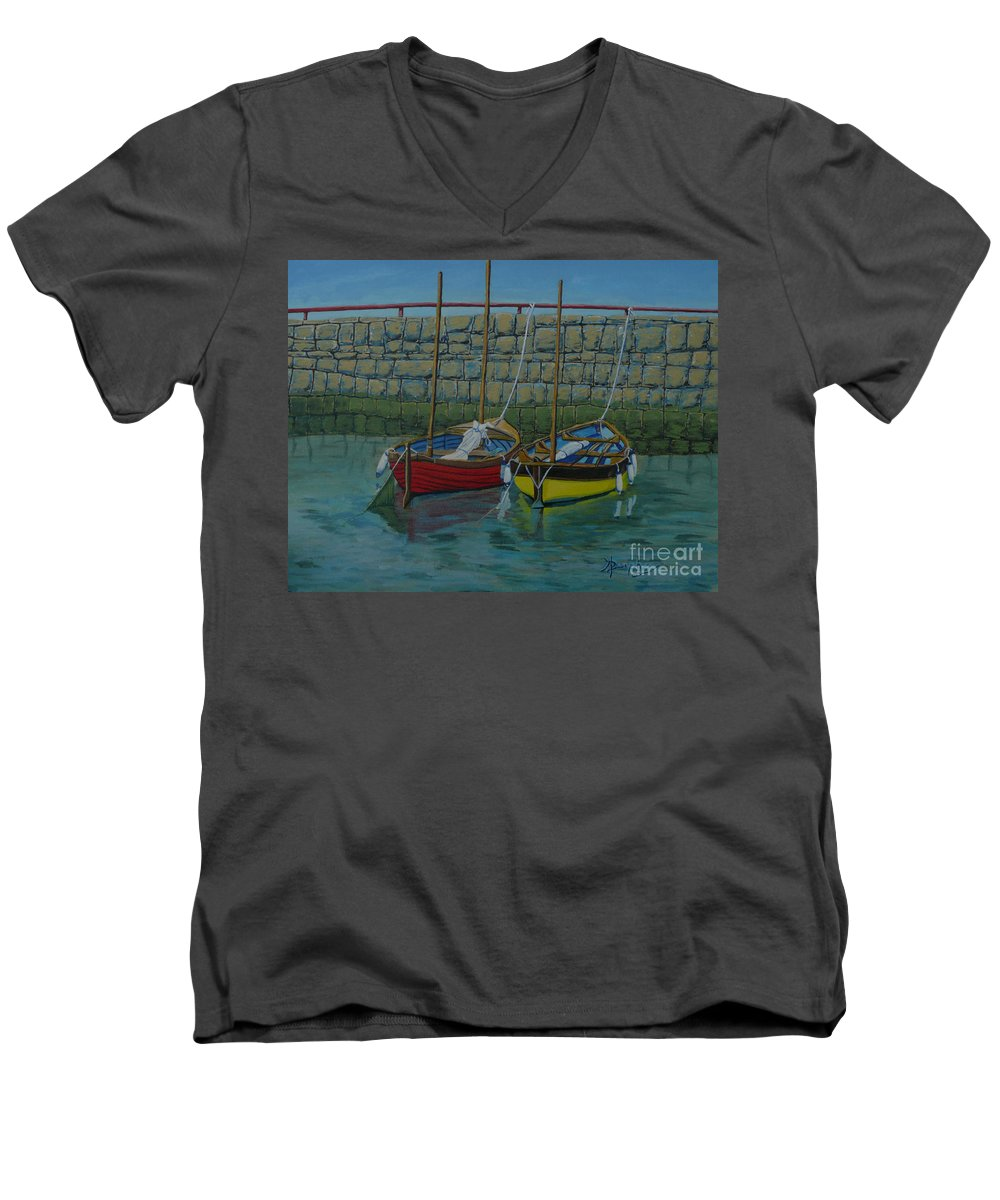 Rock Men's V-Neck T-Shirt featuring the painting Low Tide by Anthony Dunphy