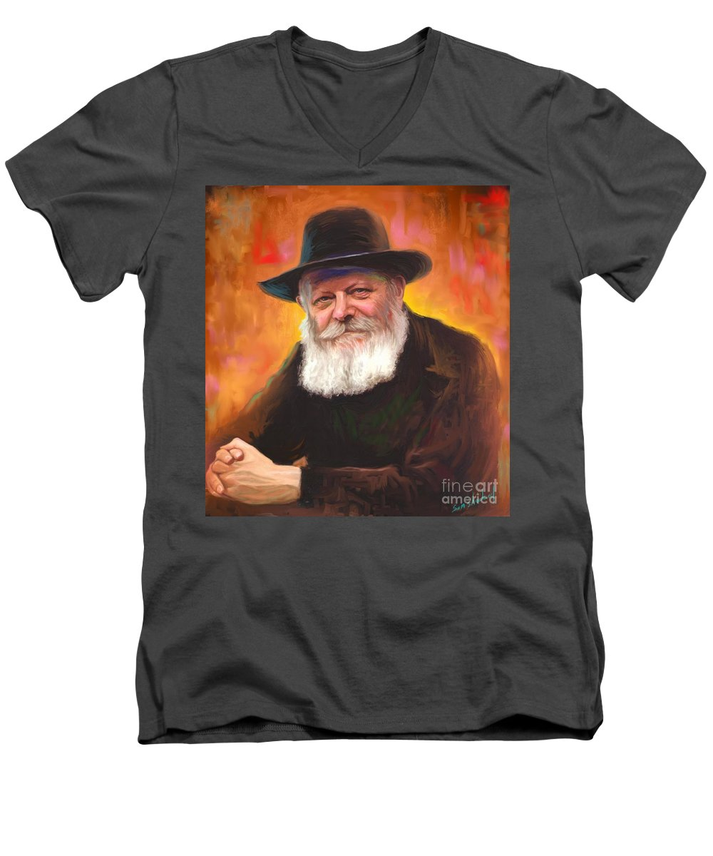 Lubavitcher Rebbe Men's V-Neck T-Shirt featuring the painting Lubavitcher Rebbe by Sam Shacked