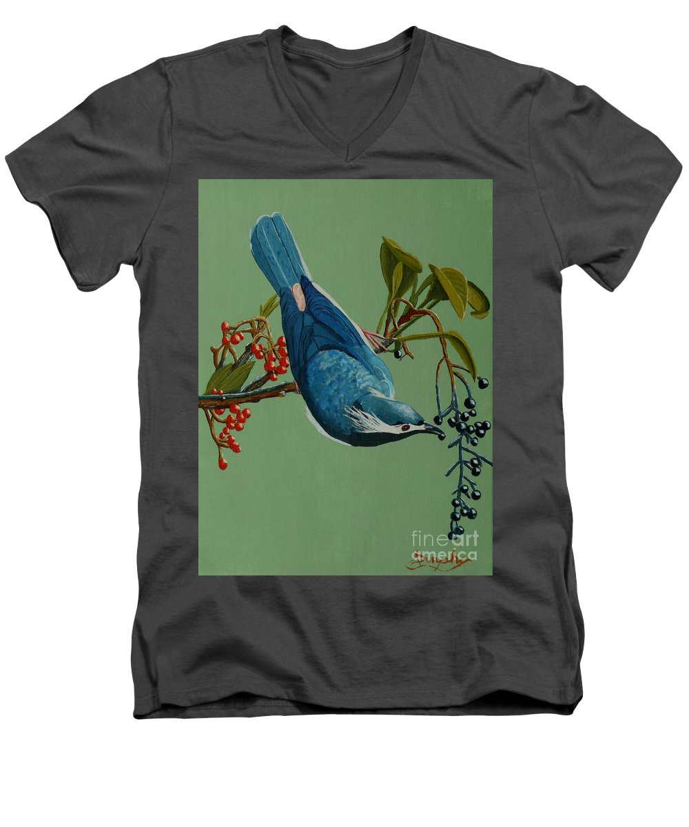 Bird Men's V-Neck T-Shirt featuring the painting Lunch Time For Blue Bird by Anthony Dunphy