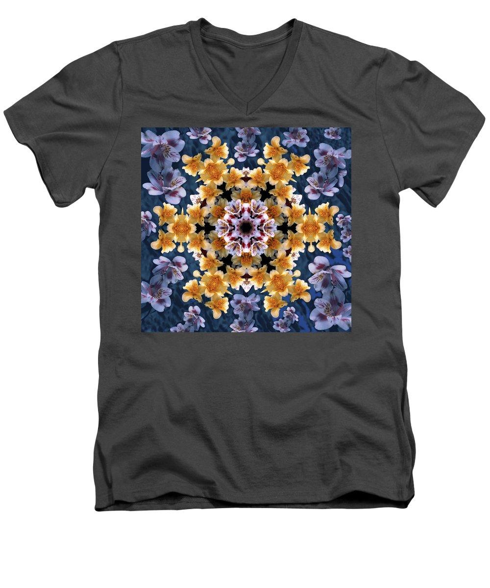 Mandala Men's V-Neck T-Shirt featuring the digital art Mandala Alstro by Nancy Griswold