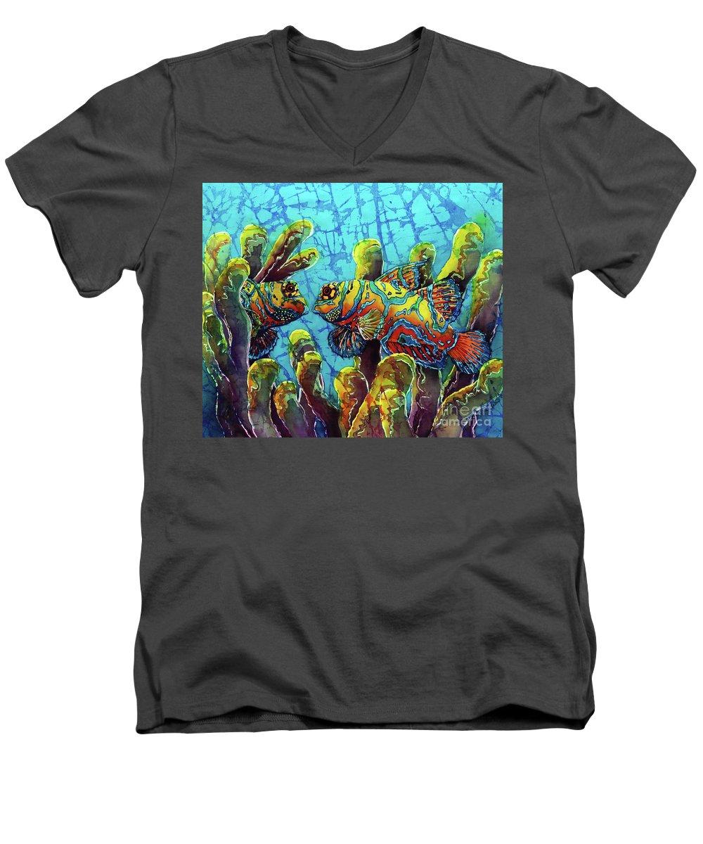 Mandarinfish Men's V-Neck T-Shirt featuring the painting Mandarinfish by Sue Duda