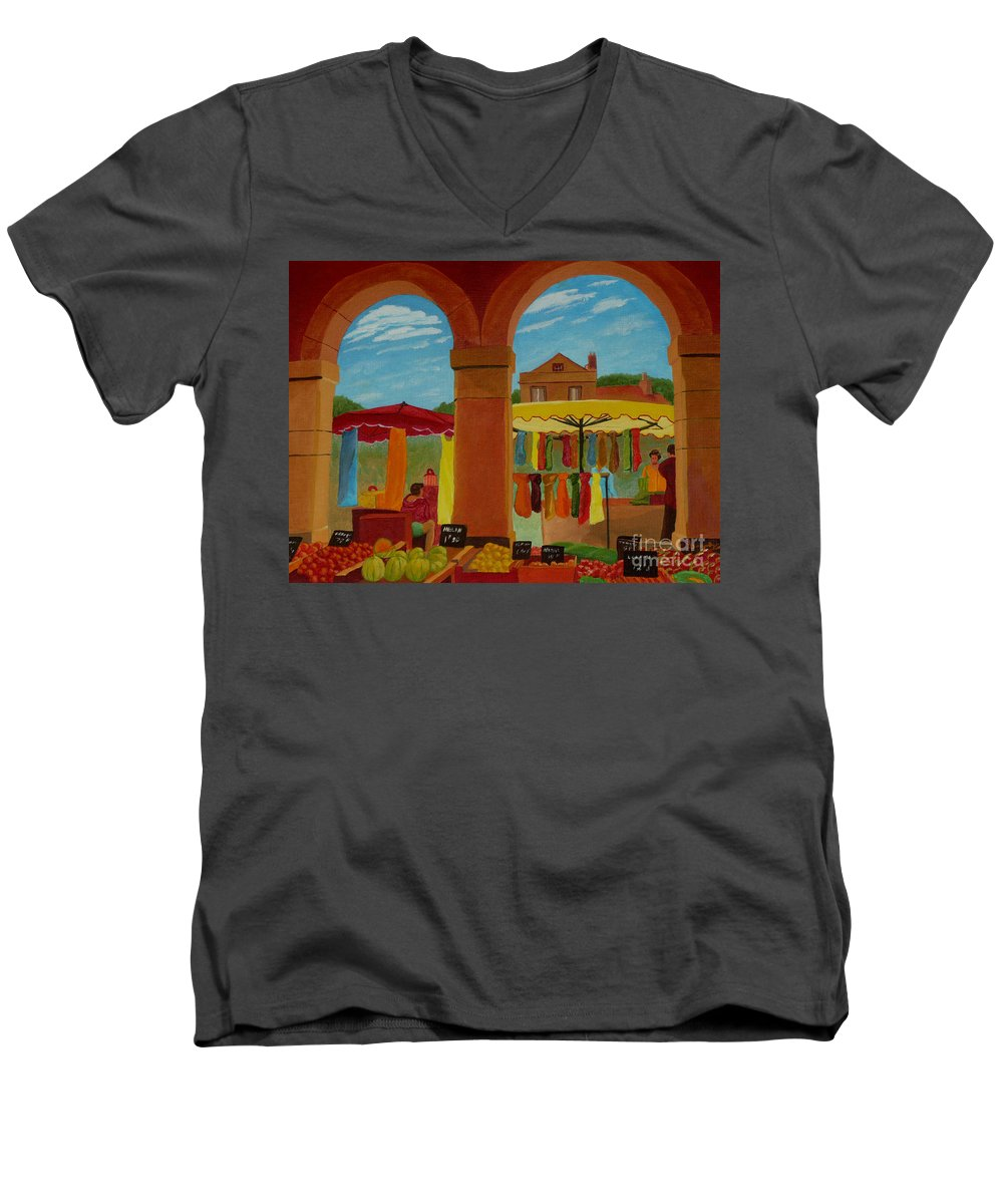 Landscape Men's V-Neck T-Shirt featuring the painting Market Day by Anthony Dunphy