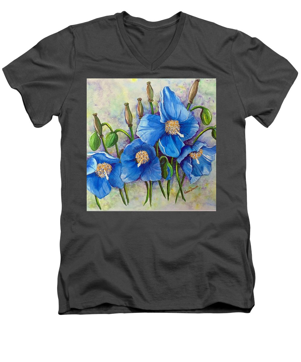 Blue Hymalayan Poppy Men's V-Neck T-Shirt featuring the painting Meconopsis  Himalayan Blue Poppy by Karin Dawn Kelshall- Best