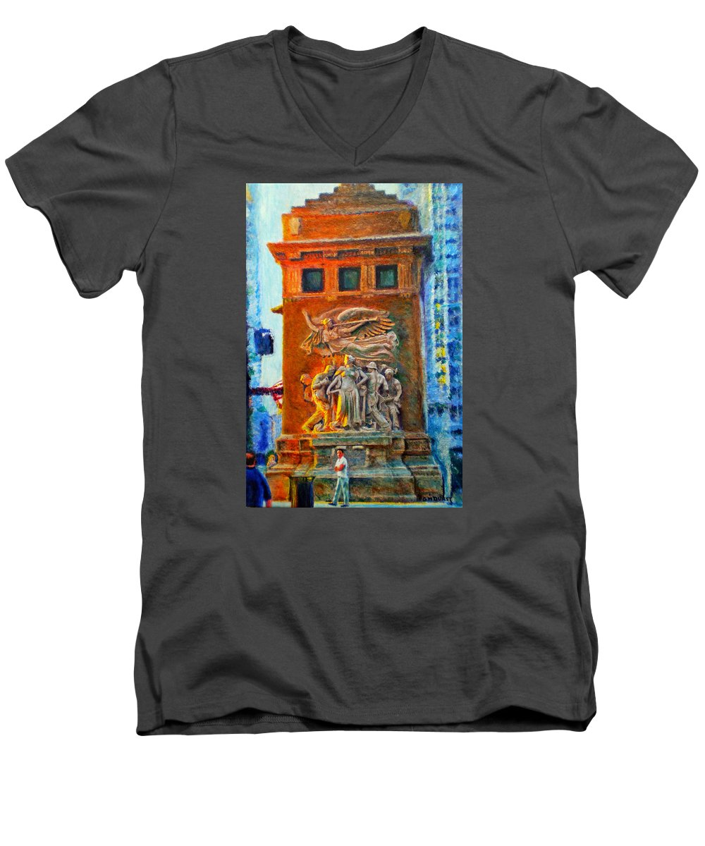 Chicago Men's V-Neck T-Shirt featuring the painting Michigan Avenue Bridge by Michael Durst