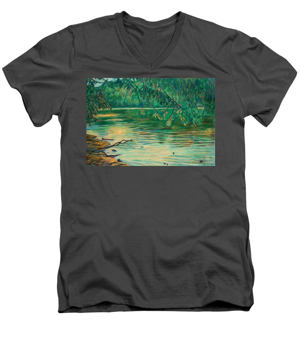 Landscape Men's V-Neck T-Shirt featuring the painting Mid-spring On The New River by Kendall Kessler