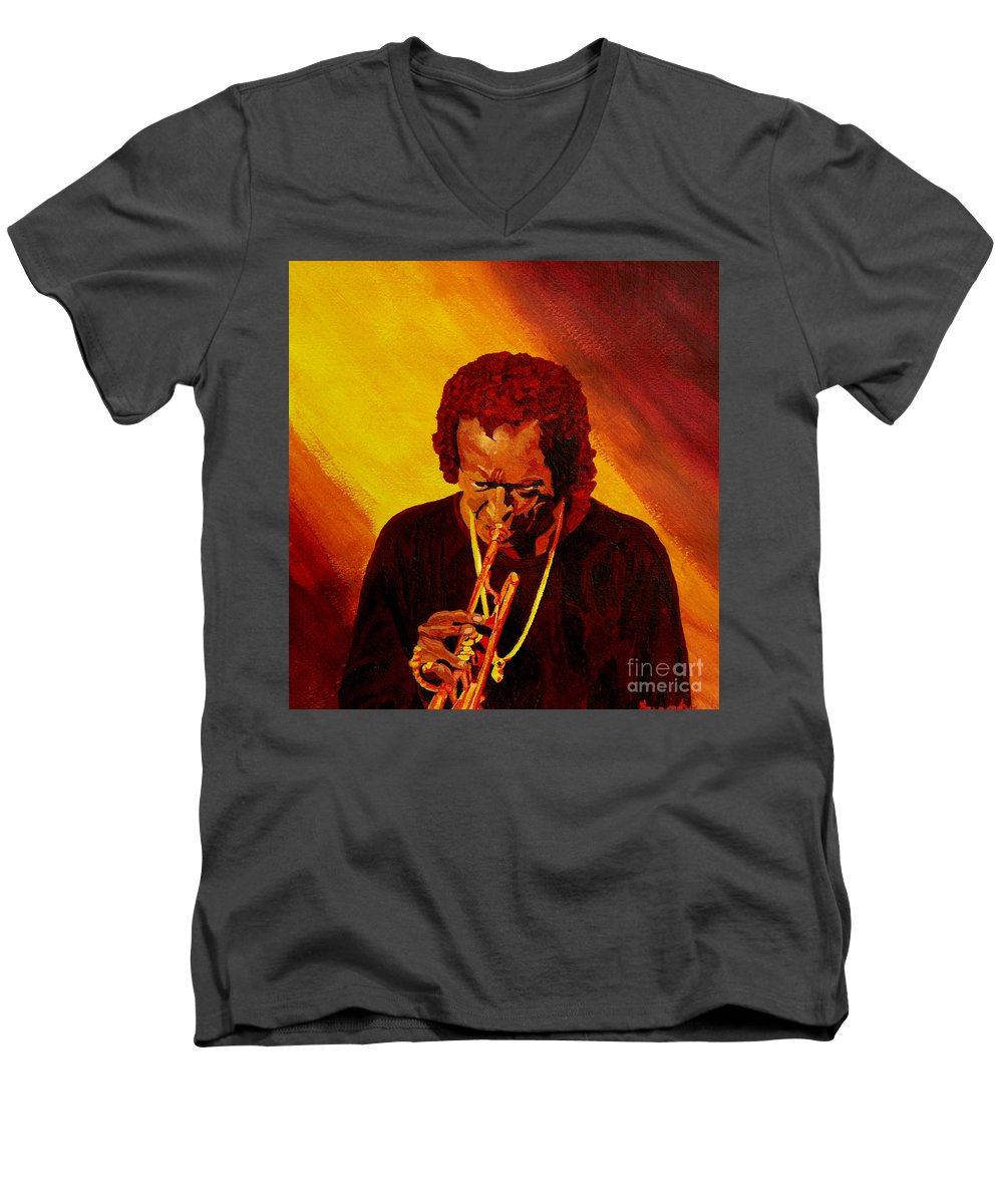 Miles Davis Men's V-Neck T-Shirt featuring the painting Miles Davis Jazz Man by Anthony Dunphy