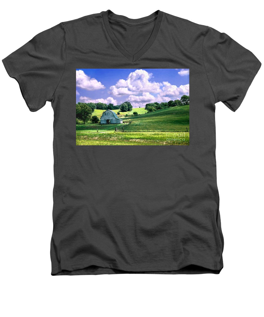 Landscape Men's V-Neck T-Shirt featuring the photograph Missouri River Valley by Steve Karol