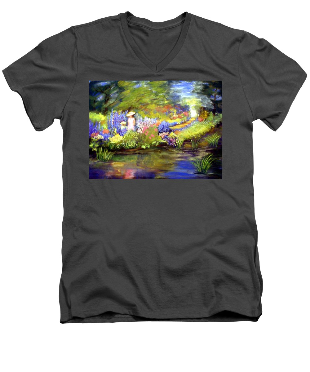 Flower Garden Men's V-Neck T-Shirt featuring the painting Mother And Daughter by Gail Kirtz