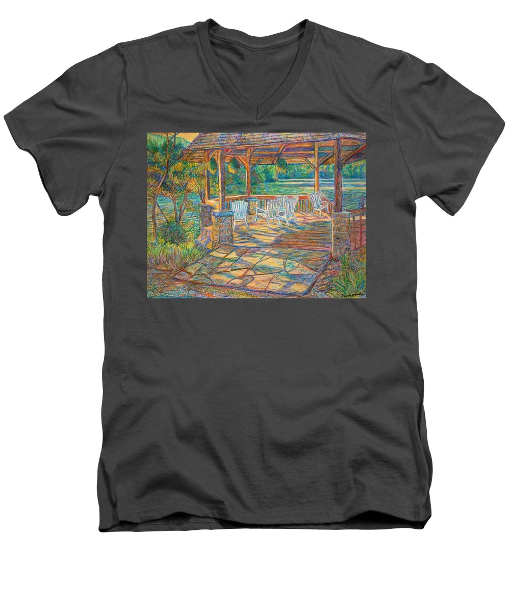 Lake Men's V-Neck T-Shirt featuring the painting Mountain Lake Shadows by Kendall Kessler