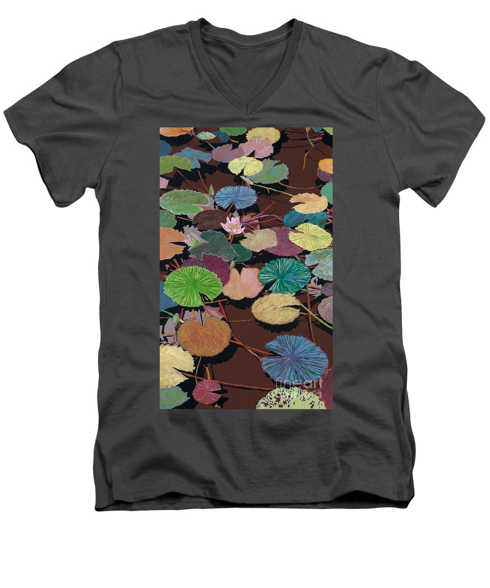 Landscape Men's V-Neck T-Shirt featuring the painting Muddy Waters by Allan P Friedlander