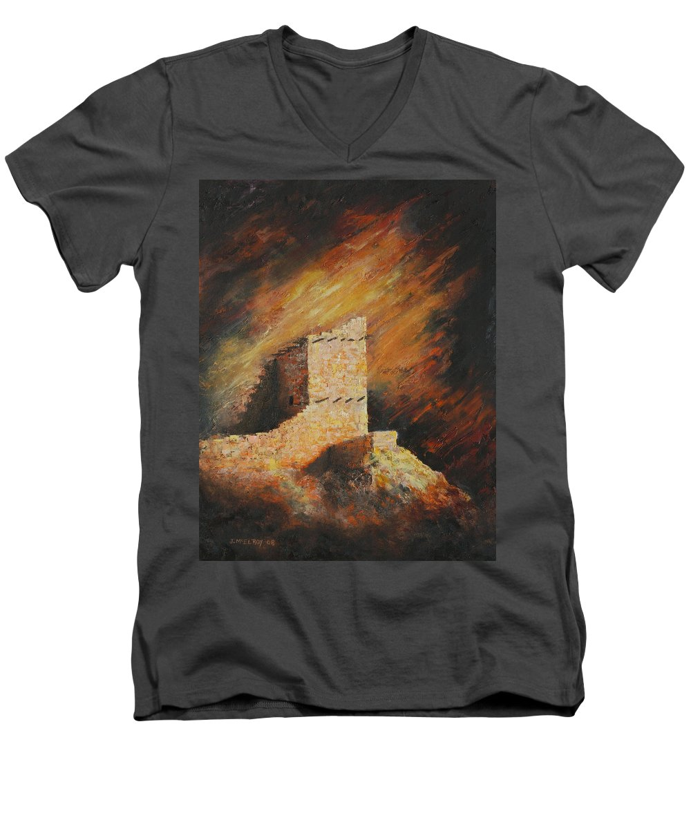 Anasazi Men's V-Neck T-Shirt featuring the painting Mummy Cave Ruins 2 by Jerry McElroy